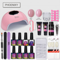 Manicure Set Extend Builder Poly Gel Kits Nail Extension UV Acrylic Builder Gel 36W UV/LED Lamp Nail Gel Polish Set Nail Kit