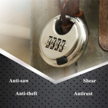 4 Digit Combination Disc Padlock Stainless Steel Password Lock Round Thickened Outdoor Warehouse Fence Cabinet Locks Hardware