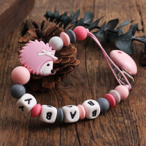 New baby Gift Silicone Pacifier Clip Binky Clip Dummy Clip Soother Teethe Toy Chain Bite Beads Cute Hedgehog Fit Girl Boy