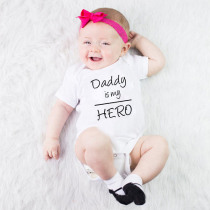 Newborn Baby Romper Boys Girls Infant Jumpsuit Clothing Outfits Dad Is My Hero Cotton Toddler O Neck Romper Outfit 0-24M