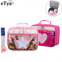 eTya Sequins Insulated Thermal Lunch Bag Women Travel Beauty Cooler Picnic Food Drink Organizer Bags Kid Lunch Box Tote Bags