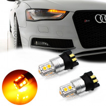 2pcs No hyper flash Amber Yellow 10-SMD PW24W PWY24W Canbus LED Bulbs For Audi A3 A4 A5 Q3 MK7 Golf CC For Turn Signal Lights