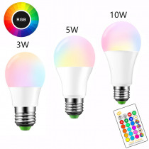 E27 LED 16 Color Changing RGB Magic Light Bulb Lamp 3/5/10W 85-265V 110V 120V 220V RGB Led Light Spotlight + IR Remote Control
