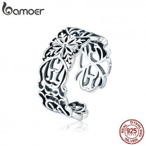 BAMOER Authentic 925 Sterling Silver Vintage Stackable Flower Open Size Finger Rings for Women Fashion Silver Jewelry SCR500