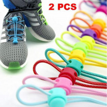 1Pair Stretching Lock Laces Unisex No Tie Locking Round Shoelaces 24 colors Elastic sneakers Shoelaces Shoestrings for men women