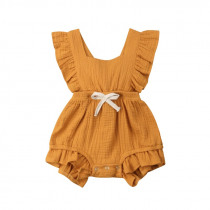 Baby Girl Ruffles Solid Color Romper Sleeveless Summer Jumpsuit Outfits Sunsuit Cute Baby Girl Clothes