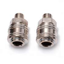 2pcs Air Line Hose Quick Connector Copper & Iron Compressor Connector Fitting Female 1/4 BSP Male Coupling