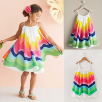 Kids Baby Girls Summer Rainbow Sling Dress Sleeveless Party Beach Dresses UK