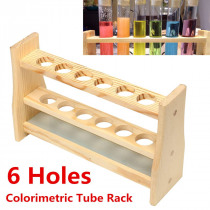 6 Holes Test Tube Rack Testing Tubes Clip Holder Stand Dropper Wood Lab Supplies 6 Hole diameter 25mm and Pins-Solid Wood