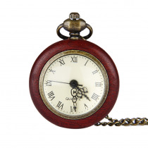 New Korean version of the retro small convex circle Roman scale red box pocket watch personality