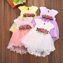 casual cotton o-neck short cute Toddler Infant Kids Baby Girls Summer Floral Dress Princess Party Dresses 0-3Y