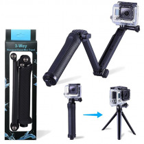 3Way Handheld Gopro Selfie Stick Foldable Extendable Camera Holder Rack Portable Waterproof Selfie Stick Grip Gopro Accessories