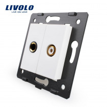 Livolo EU Standard Socket Accessory For  DIY Products,The Base of Socket One Microphone and One Video Plug Socket VL-C7-1M1VD-11