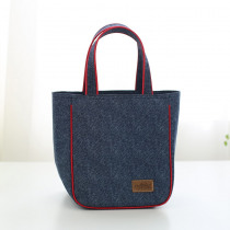 New Fashion Denim lunch Bag Portable Insulated bag casual Thermal Food Picnic Bag for Women kids thermo package