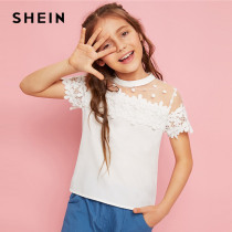 SHEIN Kiddie Girls White Stand Collar Dot Mesh Lace Applique Cute Blouse Tops Kids 2019 Summer Short Sleeve Casual Sheer Blouses