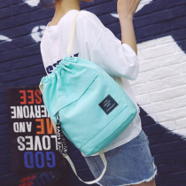 Women Soft Canvas Drawstring Bags String Backpacks Candy Color Sweet School Bags For Girl Folding Shopping Bags