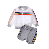 1-7Y Lovely Kids Baby Girl Summer Sets Rainbow Stripe Sunscreen Coat White Vest+Shorts 3Pcs Sunsuit Summer Outfits Clothes