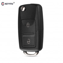 KEYYOU 2 Buttons Remote Flip Folding Car Key Shell for VW Volkswagen MK4 Bora Golf 4 5 6 Passat Polo Bora Touran
