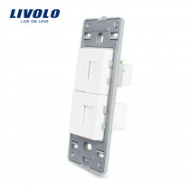 Livolo US standard Base of Telephone and Computer Socket / Outlet ,Wall Socket Accessory,VL-C5-1TC-11/12