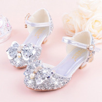 KEYITODO Girl Sandals 2019 summer new Bow tie Sequined shoes high Heel Princess model performance Rhinestone sandals L142