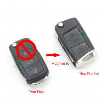 Cocolockey 3Button Modified Flip Remote Key Shell Fit for VW POLO Passat B5 Golf MK5 Beetle GTI Rabbit 3 Button Car Key Cover