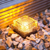 Glass Stone Ice Cube Solar Powered Crystal Brick LED Night Lamp for Garden Courtyard Xmas Decor LB88