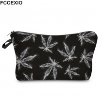 FCCEXIO New Print Makeup Bags 3 Colors Secret Weed Pattern Fashion Cosmetics Pouchs For Travel Ladies Pouch Women Cosmetic Bag