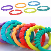 24pcs/lot Baby Teether Toys Colorful Rainbow Rings Baby Rattle Mobiles Crib Bed Stroller Hanging Decoration Educational Toys