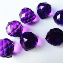 10pcs/lot 20mm Dark Purple Faceted Glass balls Crystal Chandelier Parts Prism Suncatcher hanging pendants free shipping