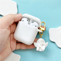 New White Silicone Case For Apple Airpods Shockproof Cover Earphone Cases Ultra Thin Air Pods Protector Case Keyring