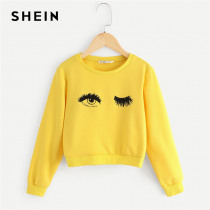 SHEIN Kiddie Yellow Eye and Eyelash Print Cute Sweatshirts For Girls Tops 2019 Spring Long Sleeve Pullover Girl Kids Clothes