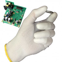 NMSAFETY 13 Gauge Knitted White Nylon Dipped PU Finger ESD Electrician Work Gloves