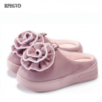 High-heeled Thick-soled Cotton Mop Ladies Half-pack With Home Shoes Wedges Warm Cotton Slippers Women's Cute Flower Slippers