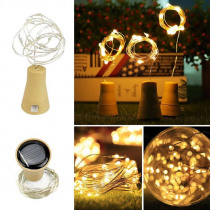 5 Pack Solar Powered Wine Bottle Lights,10 Led Waterproof Warm White Copper Cork Shaped Lights For Wedding Christmas,Outdoor,H
