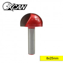 XCAN 1pc 8mm Shank 25mm Red Coated Corner Rounding End Mills Carbide Round Wood Router Bit Milling Cutter