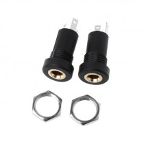 2X 3.5MM Audio Jack Socket 3 Pole Black Stereo Solder Panel Mount Gold With Nuts