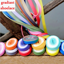 1 Pair Fashion Beautiful Gradient Sport Shoe laces Daily Party Candy Color Shoelaces Canvas Strings Flat Laces  For Young Women