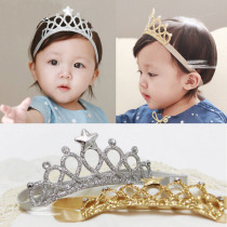 New Children Toddler Kids Baby Girls Headwear Bow Gold Silver Star Crown Tiara Princess Elastic Headband Hair Accessories