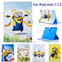 """Tablet case cover for apple ipad mini 1 2 3 case Cover for ipad 7.9"""" case Minions Cartoon Dad stand PU Leather Cover Child"""