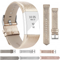 Bands for Fitbit Charge 2 Band Leather Rose Gold Silver Straps For Fitbit Charge 2 Strap Leather Bracelet Watchband Small