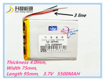 3 line 407595 polymer lithium battery 7,8,9 inch tablet PC lithiumion 'With High Quality 407595 3.7V 5500MAH tablet battery