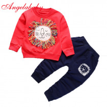 Children clothing sets baby boys and girls cloth lion tops + pants 2 pcs suit cartoon long sleeve sportswear clothes for kids