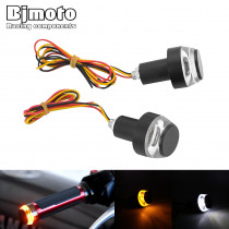 2PCS Motorcycle ATV Ebike Scooter Turn Signal LED Light Indicator Motor Handle Bar End Handlebar Amber Blinker Side Marker Light