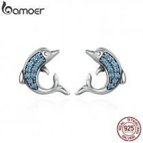 BAMOER Authentic 925 Sterling Silver Exquisite Animal Dolphins Stud Earrings for Women Fashion Sterling Silver Jewelry SCE223