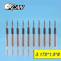XCAN 10pcs 1.5mm tungsten steel 2 flute End Mills cutting length 7/8mm CNC Router bits 3.175shank for cut wood/plastic