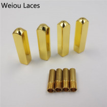 Weiou 4pcs/1Set 6*6*25mm Luxury Rectangle Highlight Mirror Gold Metal Tips V2 Replacement For Sneakers Shoelaces Aglets Gift