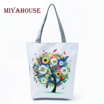 Miyahouse Colorful Tree Design Shoulder Handbags Female Summer Beach Bag For Women Canvas Tote Bags Casual Girls Shopping Bag