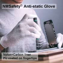 NMSAFETY Carbon Conductive fibre & PU Finger electronic Anti-static Gloves With PU AntiStatic Work Glove