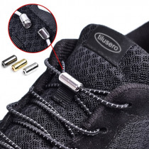 New NO TIE Shoelaces Elastic Black Round Shoe Laces Trendy Quick Lock Shoe Lacing System Shoestrings F067