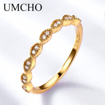 UMCHO Real Pure 925 Sterling Silver Rings For Women  Infinity Forever Love Anniversary Promise Ring Silver 925 Jewelry